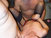 Blonde babe gets fucked by four men during groupsex