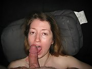 Sexy brunette wife sucks husbands friend off and then fucks
