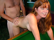 Mature UK Slut Wife enjoying cock bent over pool table