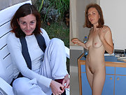 French slut Audrey Before After dressed undressed, showing beauty