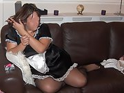 Horny wife plays with herself while while smoking cigarette