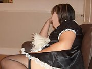 Shy brunette dresses in sexy french maid costume for lover