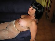 Sexy Italian wife in her antyhose and hairy