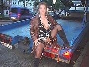 Mature german babe has naughty fun posing naked in public