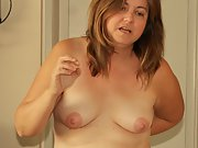 Sexy chubby wife shows her hairy pussy and creampie