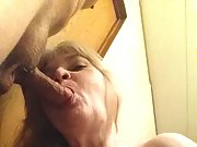Blonde sucking cock and toying her hot little tight pussy with a dildo