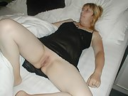 Mature blonde horny milf shows off her smooth hairless pussy