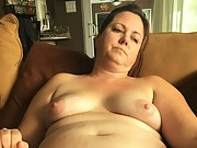 Chubby wife shows her little panties and hot pussy for the camera