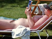 Nice chubby lady sunbathing and smiling naked. Lovely cute buttocks