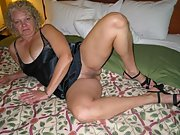 Mature blonde wife shows off her hairy pussy in sexy lingerie