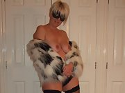 Wife gets kinky in fur coat and black fishnet stockings