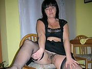 Italian wife with black lingerie shows off her hairy pussy