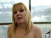 Blonde wife gets naked in front of her apartment window