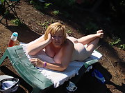 Cute Chubby Wife Camping Outdoors Nude Posing for Hubby at park 6