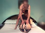 Wife rides a dildo as she gives husband a blowjob