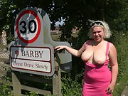 Barby in her own village naked flashing tits and pussy in public