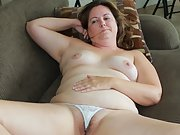Chubby slut wife removes her tiny panties so you can view her cunt