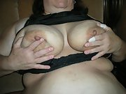 BBW wife with big tits gives her husband a blowjob