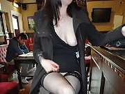 Out and about in various pubs, flashing my legs and pussy