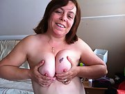 Showing the wife naked hope you like her tits and vagina close up
