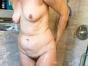 Hotwife Lizzy Nude in the Shower and Bathroom Showing Her Pussy