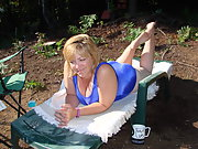 Cute Chubby Wife Camping Outdoors Nude Posing for Hubby at park