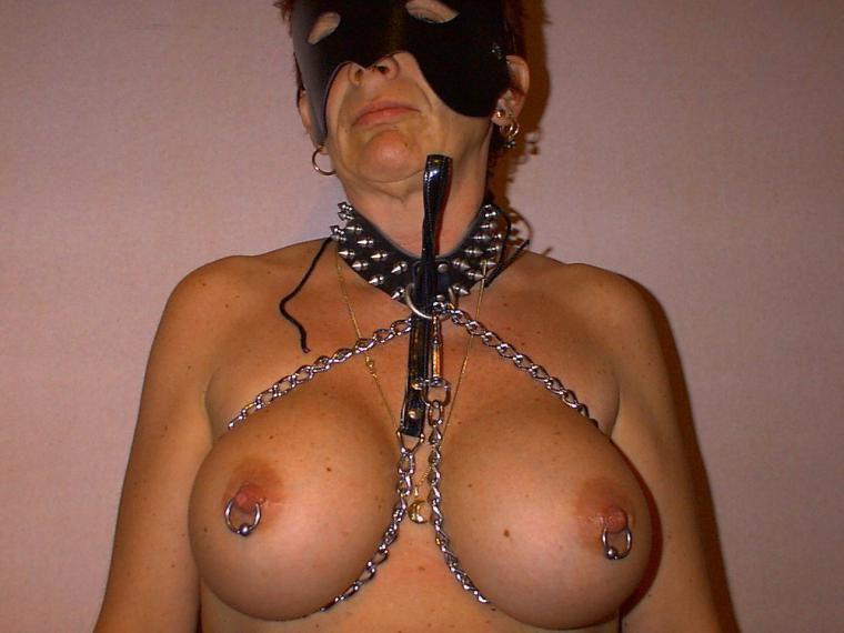 Slave slut with pierced nipples