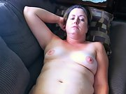 Chubby wife shows off in panties then gets naked on couch
