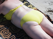 A Sunny Day at the Beach To Work on My Tan and Mature Body To Voyers