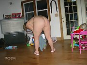 Blonde bbw cleans the house showing pussy and big tits