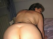 Mature wife shows her nude body and gives hubby bj