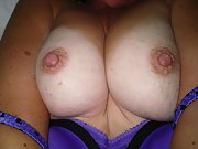 Horny wife shows off her titties and her tan lines