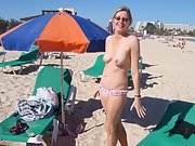 Sexy blonde wife goes topless at the beach and poses around house