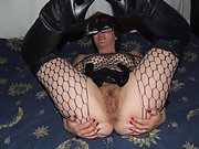 Sexy wife dressed as cat woman showcases pussy and gives a blowjob