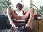 Ebony wife Pamela flashing bald pussy and cute ass with long legs