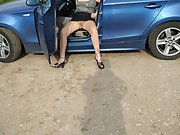 Wife gets out of car in mini skirt and shows her pussy
