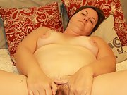 Chubby hot wife in tiny bikini then shows off her hairy pussy