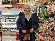 Just me at the store grocery shopping and doing a little flashing