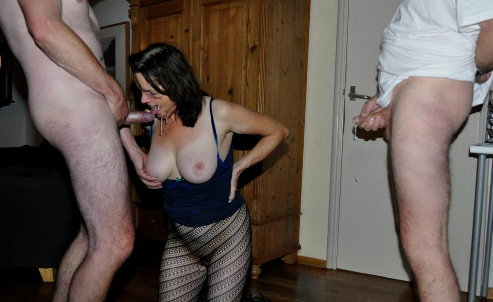Amateur wife with strangers watching