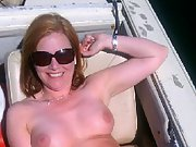 Holly riding on the boat in summer outdoors naked sunbathing