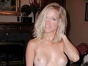 Really sexy blonde wife with obscured face gets naked