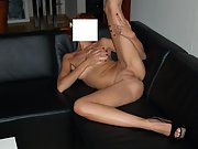Anonymous wife poses naked on a spiffy ass couch