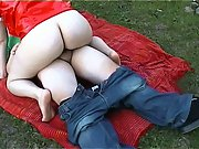 Pale dark haired girl gets in top and rides hard rod in the park