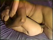 Cute brunette milf gives her chubby hunk a blowjob and gets rammed