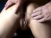 Bent over mature brunette slut gets double creampie in bedroom