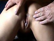 Bent over mature brunette slut gets double creampie in bedroom