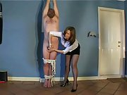 Tied mature husband with stiff pecker gets handjob by his hot wife