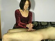 Mature kinky brunette wife gives handjob to many cock on compilation