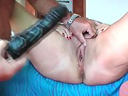 Chubby mature momma and her hubby play with her sex toys