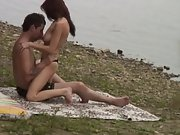 Long haired hot ass brunette caught having sex by riverside